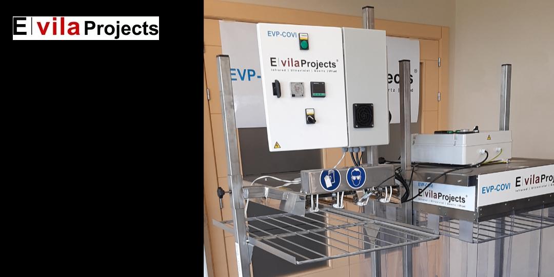 Desinfección de mascarillas médicas con el equipo patentado EVP-COVI