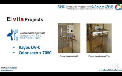 el equipo de desinfección de mascarillas ffpp2 y ffp3 de E. Vila projects presentado en las jornadas de trabajo calidad en salud  y calidad asistencial